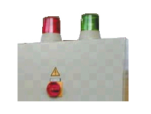 Warning unit EWIII with integrated power failure signal and large lamps that light up in green or red.