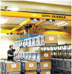 Man in warehouse using a Light Crane System